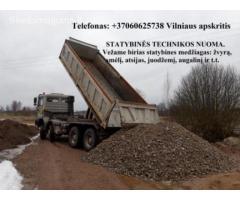Vežame žvyrą, smėlį, skaldą, juodžemį, augalinį 860625738 Vilnius Račioko nuoma, polių gręžimas